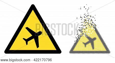 Dissolved Dot Airplane Warning Vector Icon With Destruction Effect, And Original Vector Image. Pixel