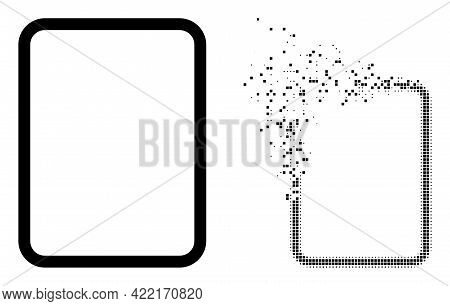 Dispersed Dot Empty Page Vector Icon With Wind Effect, And Original Vector Image. Pixel Dissipation