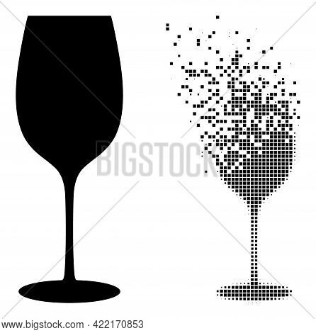 Dispersed Dotted Wine Glass Vector Icon With Destruction Effect, And Original Vector Image. Pixel Di
