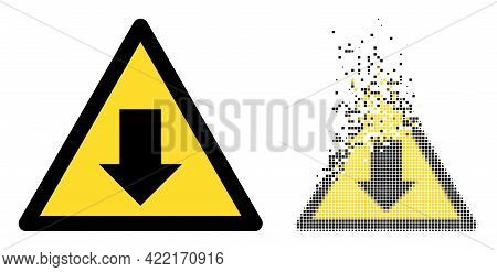 Dispersed Dot Drop Down Warning Vector Icon With Destruction Effect, And Original Vector Image. Pixe