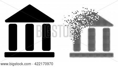 Dispersed Dotted Library Building Vector Icon With Destruction Effect, And Original Vector Image. Pi