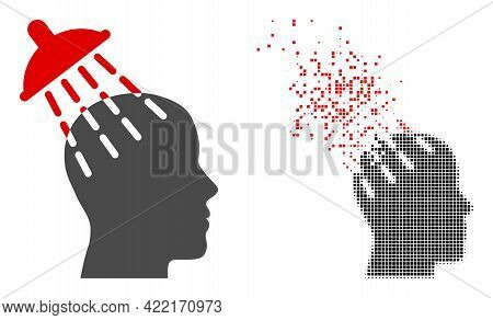 Dispersed Dotted Brainwashing Vector Icon With Wind Effect, And Original Vector Image. Pixel Dispers