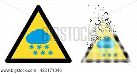 Dispersed Dotted Snow Weather Warning Vector Icon With Wind Effect, And Original Vector Image. Pixel