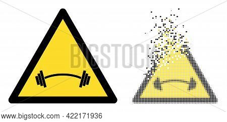Dispersed Pixelated Heavy Barbell Warning Vector Icon With Destruction Effect, And Original Vector I