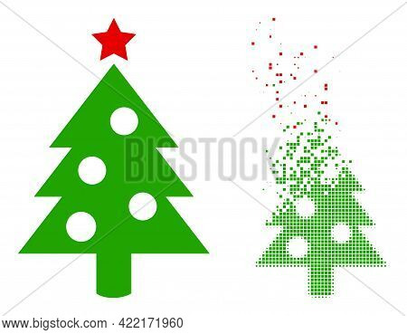Dispersed Pixelated New Year Tree Vector Icon With Wind Effect, And Original Vector Image. Pixel Abr