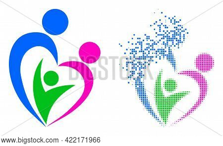 Dispersed Pixelated Familty Care Vector Icon With Destruction Effect, And Original Vector Image. Pix
