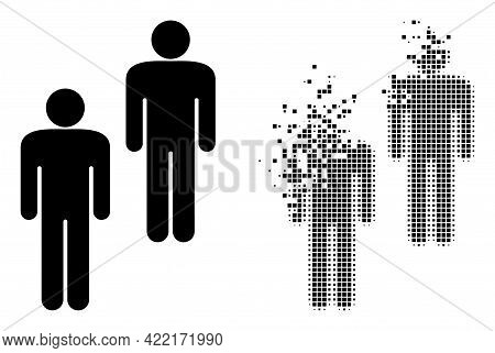 Dispersed Pixelated People Vector Icon With Wind Effect, And Original Vector Image. Pixel Burst Effe