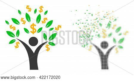 Dispersed Dot Money Tree Man Vector Icon With Wind Effect, And Original Vector Image. Pixel Demateri
