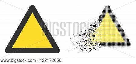Fractured Pixelated Warning Triangle Vector Icon With Destruction Effect, And Original Vector Image.