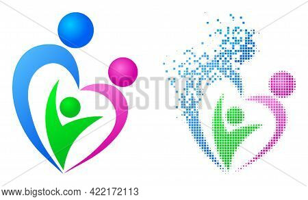 Dispersed Dotted Family Vector Icon With Wind Effect, And Original Vector Image. Pixel Degradation E