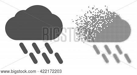 Fractured Pixelated Rain Vector Icon With Destruction Effect, And Original Vector Image. Pixel Disin