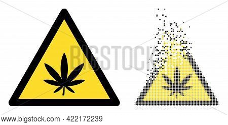 Dissolved Pixelated Marijuana Warning Vector Icon With Destruction Effect, And Original Vector Image