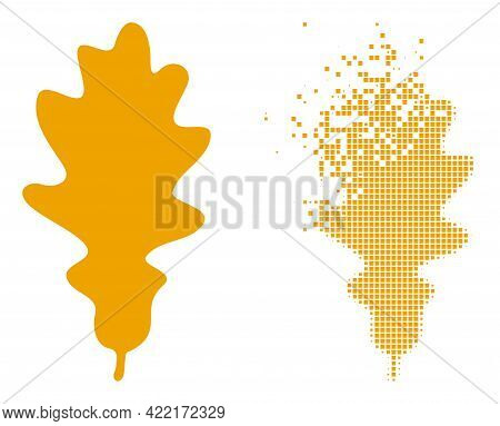 Dissolved Dot Oak Leaf Vector Icon With Wind Effect, And Original Vector Image. Pixel Burst Effect F