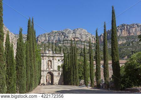 Tarragona, Spain, May 1, 2020 - Ruins Of Old Monastery Cartoixa Escaladei In Catalonia, First Monast