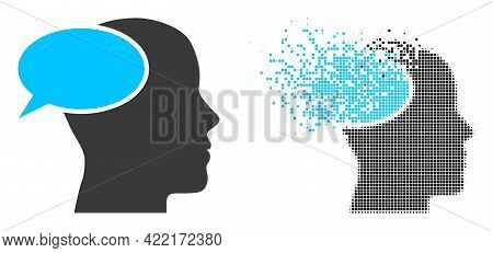 Fractured Dot Dream Cloud Vector Icon With Destruction Effect, And Original Vector Image. Pixel Dest