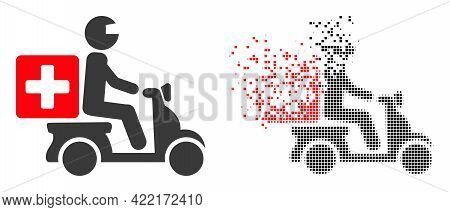 Fractured Pixelated Medical Motorbike Vector Icon With Wind Effect, And Original Vector Image. Pixel