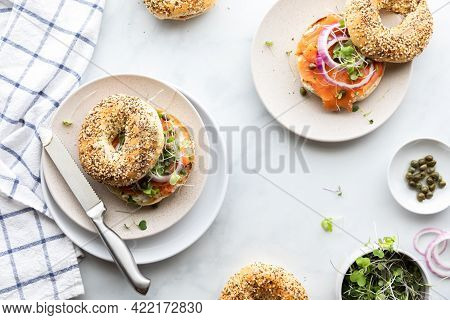 Everything Bagels With Cream Cheese And Salmon Lox Ready For Eating.