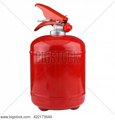 Mini Red Portable Fire Extinguisher On Isolated White Background. Blank Fire Extinguisher For Your D