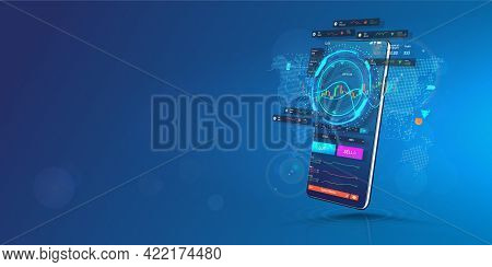 Trade Cryptocurrency In Smartphone Application. Template Web Banner. Trading Platform For Cellphone.