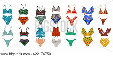 A Set Of Different Fashionable Swimsuits. Beachwear. Two-piece Bathing Suits, Swimsuits In Retro Sty