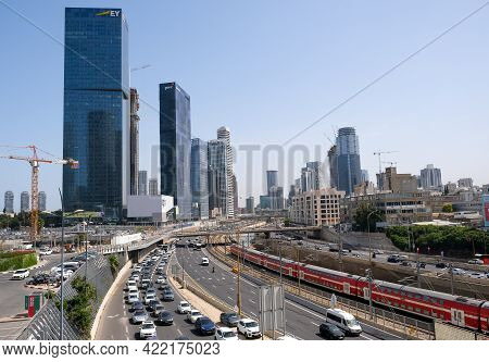 Tel-aviv, Israel - May 03, 2021: View Of The Ayalon Highway And The Railway Between Tel Aviv And Ram