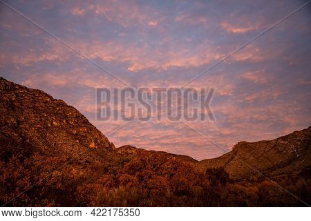 Rows Of Pink Tinted Clouds Over Guadalupe Mountains On A Quiet Night