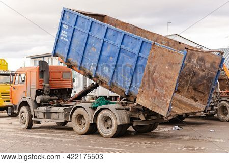 Moscow. Russia. October 2020. Large Garbage Truck. A Large Dumpster Is Mounted On The Truck Chassis