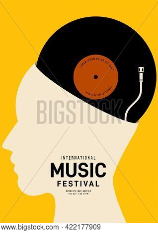 Music Poster Design Template Background With Human Head And Vinyl Record. Design Element Template Ca