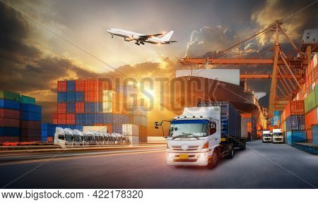 Logistics Import Export Background And Transport Industry Of Container Cargo Freight Ship And Cargo
