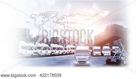 World Map With Logistic Network Distribution On Background. Logistic And Transport Concept In Front