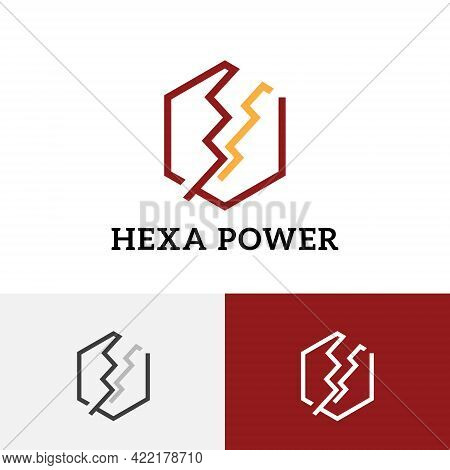 Hexagon Thunder Storm Power Energy Electricity Line Logo