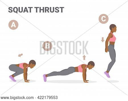African American Girl Doing Squat Thrust Exercise Home Workout Guidance.