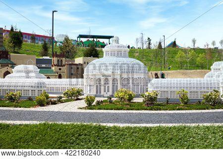 Goshen, Ny - April 24 2021: View Of Bronx Botanical Garden Built Out Of Bricks At Miniland In Legola