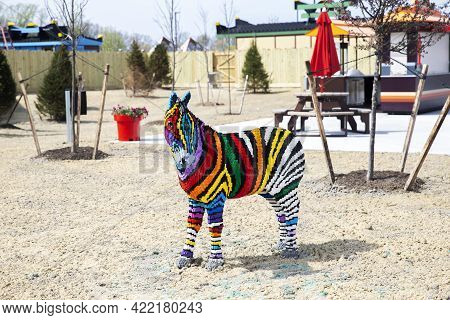 Goshen, Ny - April 24 2021: Colorful Zebra Built Out Of Bricks At Legoland New York Resort