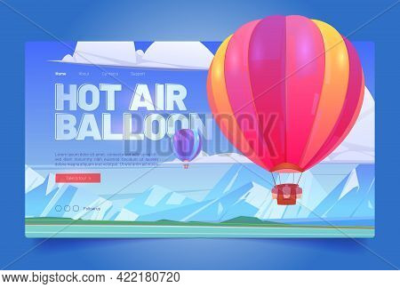 Hot Air Balloon Travel Flight Cartoon Landing Page, Aerial Tourism Service, Ballons With Basket Flyi