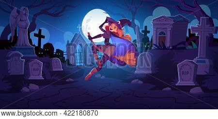 Beautiful Witch On Cemetery At Night. Redhead Woman In Spooky Hat Flying On Broom On Moon Background