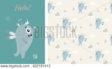 Seamless Pattern And Card With Cute Blue Winged Monster. Fantastic Character - A Boy On A Light Gray