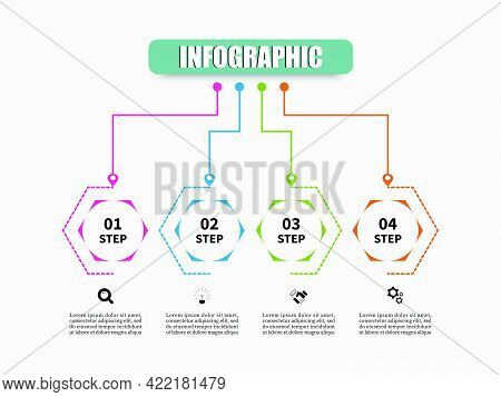 Hexagon Vector Illustration With 4 Steps, Options, Marketing Icons. Planning Timeline Infographics T