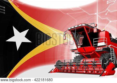 Digital Industrial 3d Illustration Of Red Advanced Wheat Combine Harvester On Timor-leste Flag - Agr