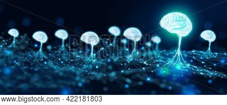 Ai Brain Neural Network Super Computer. Artificial Intelligent, Deep Learning, Machine Learning, And