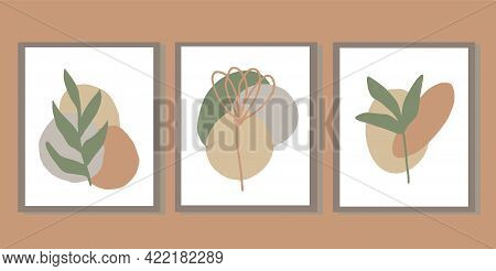 Abstract Boho Leaves Set Of Posters. Hand Drawn. Vector, Trendy, Minimalism. Prints For T-shirt, Car