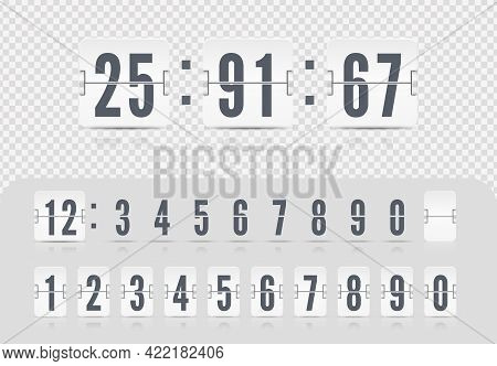 Vector Illustrati On Template. Scoreboard Number Font. White Flip Countdown Number. Vintage Flip Clo