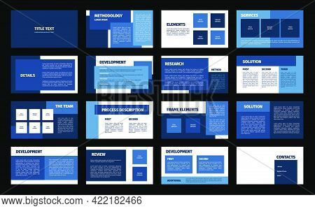 Presentation Template. Blue And White Rectangles Flat Design, 16 Slides. Title, Detail, Development,