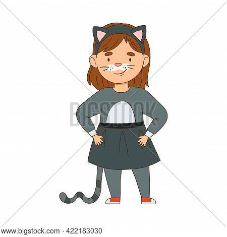 Cheerful Girl In Masquerade Costume Of Cat And With Face Painting Engaged In Festive Celebration Vec