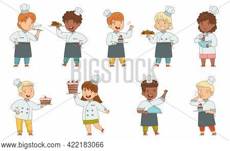 Children Chef In White Toque And Uniform Engaged In Food Preparation Vector Set