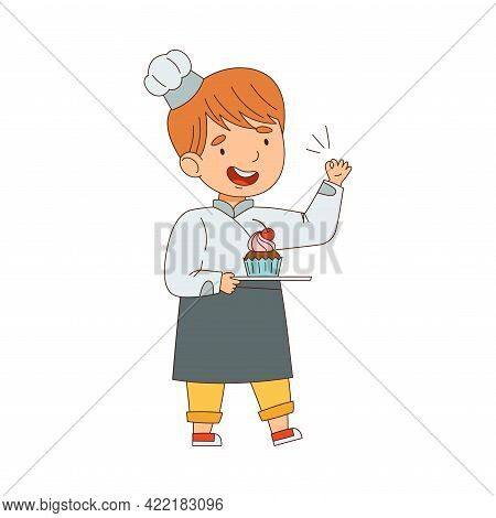Little Boy Chef In White Toque And Jacket Holding Plate With Sweet Cupcake Vector Illustration