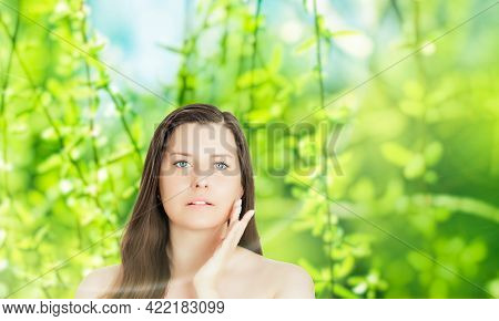 Beauty Portrait Of Young Woman For Natural Skincare And Cosmetic Brand, Spring Nature On Background