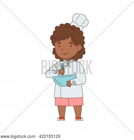 Little African American Girl Chef In White Toque And Jacket Holding Bowl Mixing Something Vector Ill