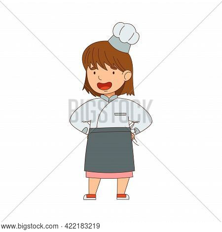 Little Girl Chef In White Toque And Jacket Standing Vector Illustration