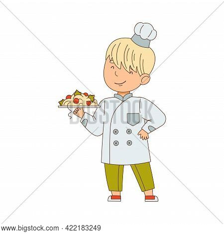 Little Boy Chef In White Toque And Jacket Holding Plate With Served Pasta Vector Illustration